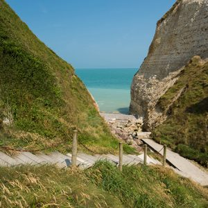 Cliff lined beaches of Normandy. Glatigny Farmhouse